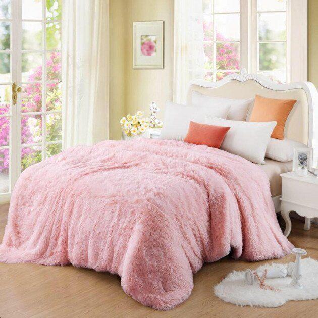 Покривало Хутряне Травка  Плюш Рожеве 220 х 240 см Євро покривало на ліжко пакування подарункова сумка