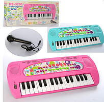 Синтезатор на батарейці,32 клавіши,40см,8 тонів,запис,8 інстр.,мікрофон,в коробці HS3290AB