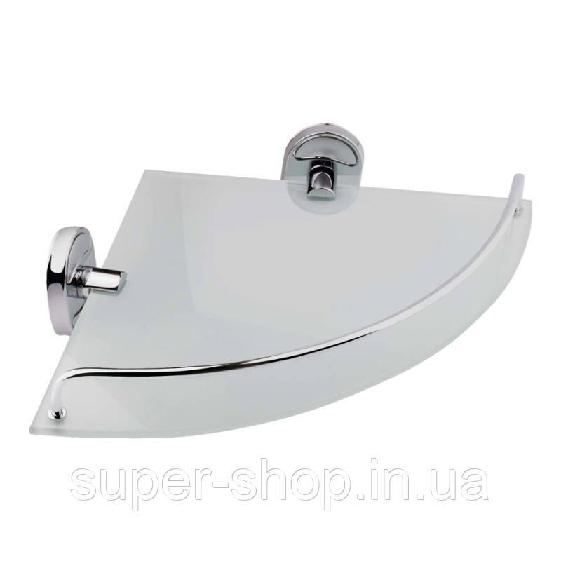 Полиця скляна кутова для ванної кімнати Potato 25 см на стінку