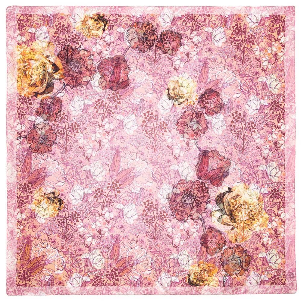 Платок шелковый 10250-3, павлопосадский платок шелковый крепдешиновый с подрубкой