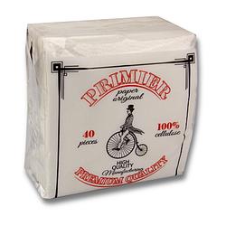 Салфетки бумажные Primier Премиум 40 листов білий