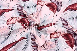 Ранфорс 240 см Листья пальмы вишневые на розовом