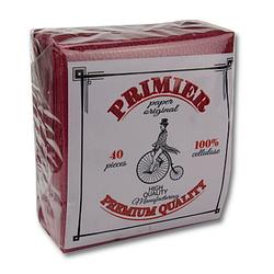 Серветки паперові Primier Преміум 40 аркушів бордовий