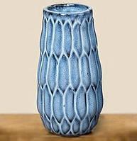 Ваза Акварель керамика синий h15см d9.5см  1005974