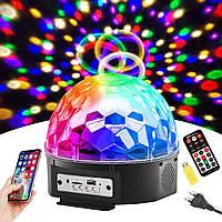 Музыкальный диско-шар с Bluetooth, USB, светомузыкой, динамиками и пультом, Мp3