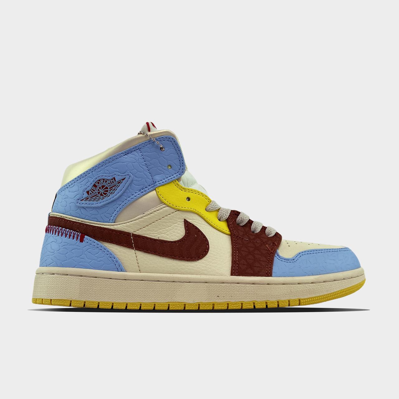 Nk, крос, обувь, взуття, sneakers, шузы, Air Jordan 1 Mid SE Fearless Maison Chateau Rouge (Бежевый Голубой)
