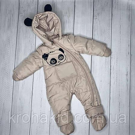 """Детский демисезонный  комбинезон """"Панда"""" 74 размера - осенне-весенний комбинезон для деток от 6 до 12 мес, фото 2"""