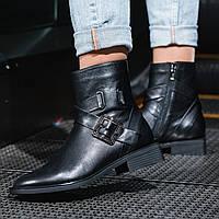 Ботинки женские натуральная кожа черные на байке на низком ходу высота каблука 3,5 см