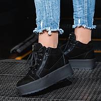 Женские ботинки замша на платформе короткие черные высота подошвы 4 см