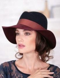 Шляпа из фетра мужского стиля цвет чёрный -бордовый