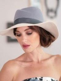 Шляпа из фетра мужского стиля цвет ,светло серый -белый