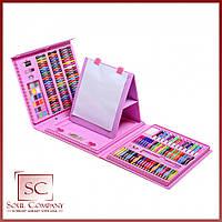 Художественный набор Art Set на 208 предметов с мольбертом для детского творчества в чемодане Розовый