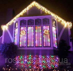 Новогодняя светодиодная гирлянда бахрома 200 LED 4.5м на 0.55 м белая и мульти