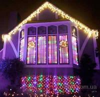 Новогодняя светодиодная гирлянда бахрома 200 LED 4.5м на 0.55 м белая и мульти, фото 1