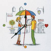 Встреча под зонтом Набор для вышивки крестом, часы RTO M40002