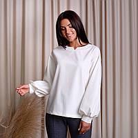 Блуза с объемными рукавами молочная