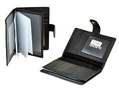 Обложка для водительских прав и автодокументов с вкладышами прозрачными кожаная черная Dr.Bond M5