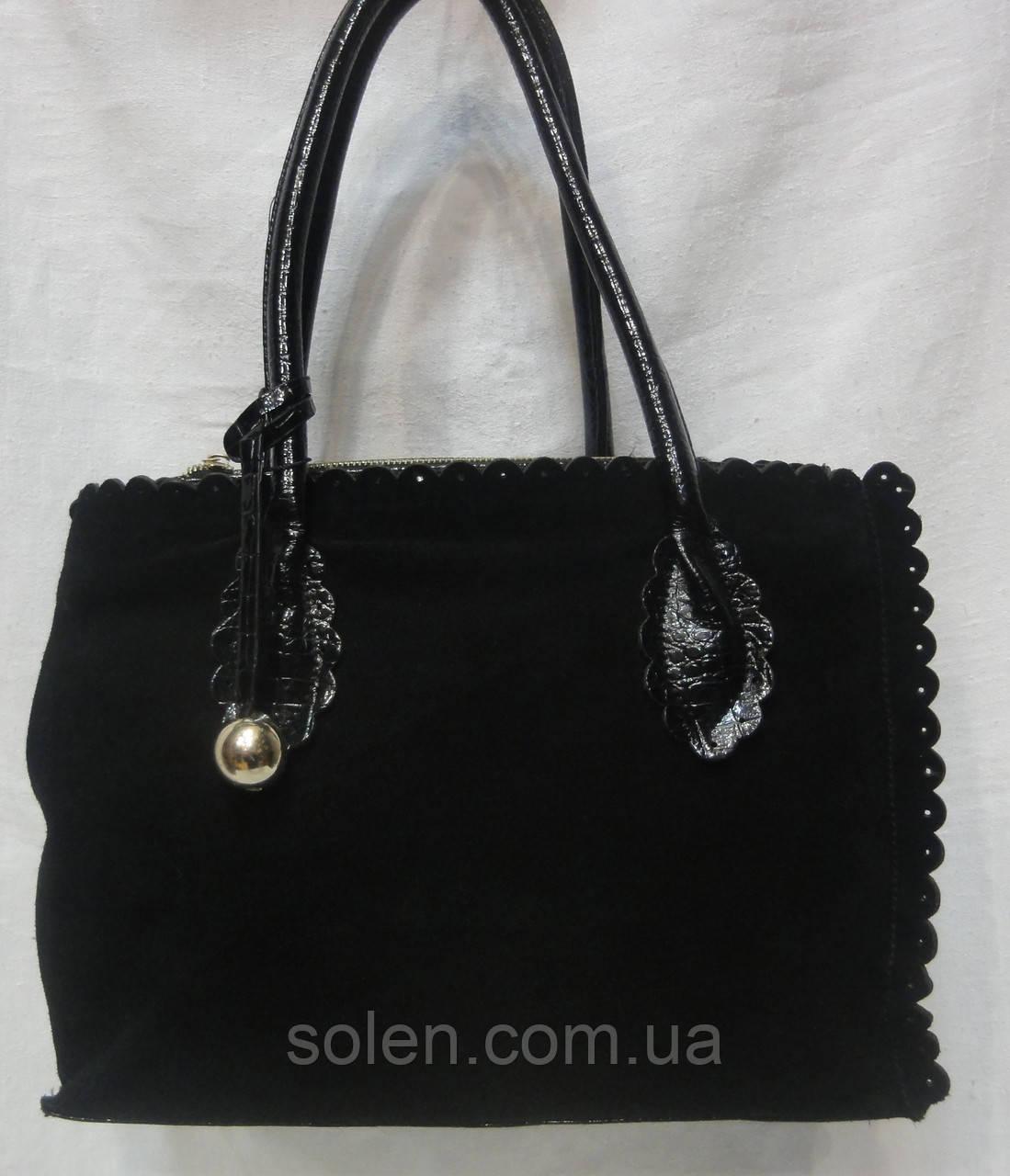 Стильная сумка из натурального замша и искусственной лаковой кожи.