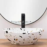 Дизайнерський настільний умивальник SOFIA TERAZZO 41х34 см, фото 4