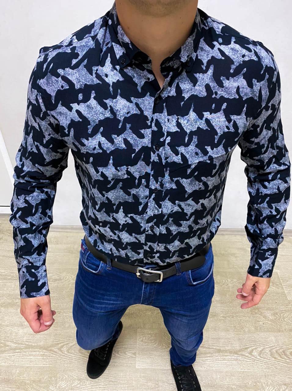 Рубашка с длинным рукавом мужская хлопковая черная с серым рисунком