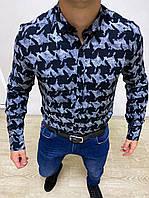 Рубашка с длинным рукавом мужская хлопковая черная с серым рисунком, фото 1