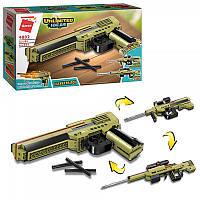 Конструктор Qman 4802 Оружие 3 в 1, Пистолет, автомат, винтовка, 202 детали
