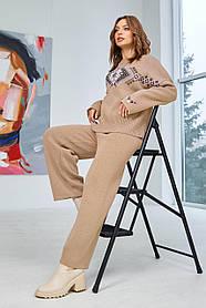 Комплект брючный  женский с джемпером бежевого цвета  вязка,  размер оверсайз 44-50