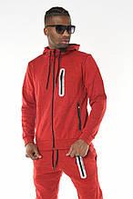 Мужской спортивный костюм трикотажный David Gerenzo с капюшоном демисезонный  Красный