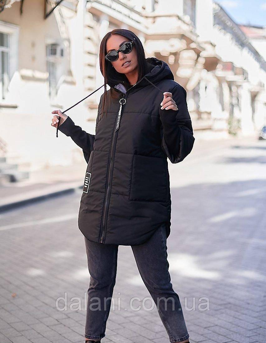 Жіноча стеганная чорна куртка з капюшоном