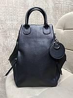 Женский кожаный сумка-рюкзак черного цвета с двумя ручками (Италия)