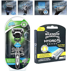 Верстат Wilkinson Sword Hydro 5 Sense Comfort Beruhigt + 6 касет Wilkinson Sword Hydro 5 Sense Energize 01598