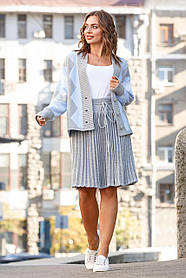 Кардиган серо-голубой с юбкой-плиссе из шерсти,  размер оверсайз  42-50
