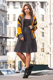 Молодежный женский костюм с вязаной кофтой и юбкой,  размер оверсайз 42-50