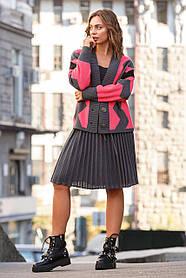 Яркий женский шерстяной костюм с  юбкой и кардиганом,  размер оверсайз 42-50