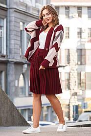 Стильный женский тёплый костюм-двойка с юбкой бордового цвета,  размер оверсайз 42-50