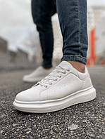Белые мужские кроссовки на высокой подошве