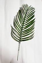 Штучний тропічний лист фінікової пальми на гілочці 35 см (50 см з ніжкою) пластик