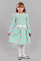 Платье для девочки в горошек с бантом