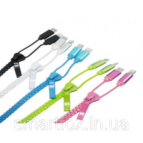 Кабель USB 2 в 1 на змейке (с разъемами microUSB/IPHONE 5/6) (9707)