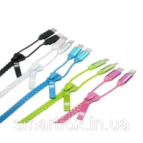 Кабель USB 2 в 1 на змейке (с разъемами microUSB/IPHONE 5/6) (9707), фото 2
