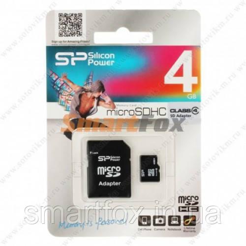 Карта памяти 4Gb SiliconPower microSDHC class 4 (adapter SD)