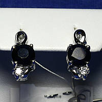 Серьги из серебра с сапфиром и фианитом Е18, фото 1