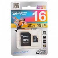 Карта памяти 16Gb SiliconPower microSDHC (UHS-1) Elite class 10 (adapter SD)