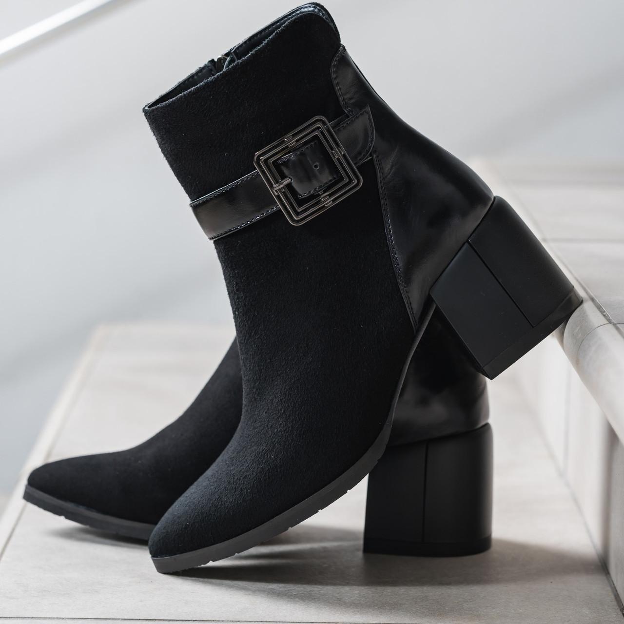 Ботинки женские весенние натуральная замша черные байка высота каблука 6,5 см