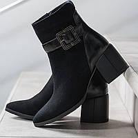 Ботинки женские весенние натуральная замша черные байка высота каблука 6,5 см, фото 1