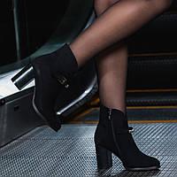 Женские замша ботинки черные на каблуке 8 см байка весение Италия, фото 1