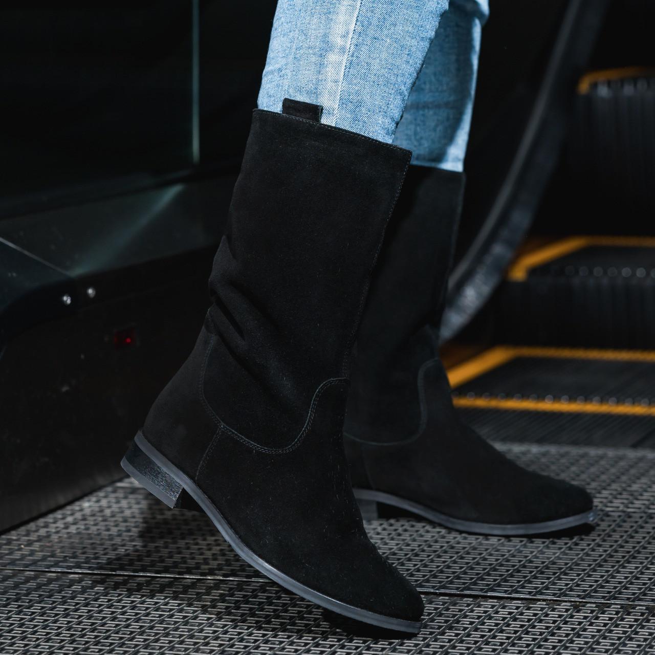 Женские Полусапоги замша черные на байке высота каблука 2,5 см