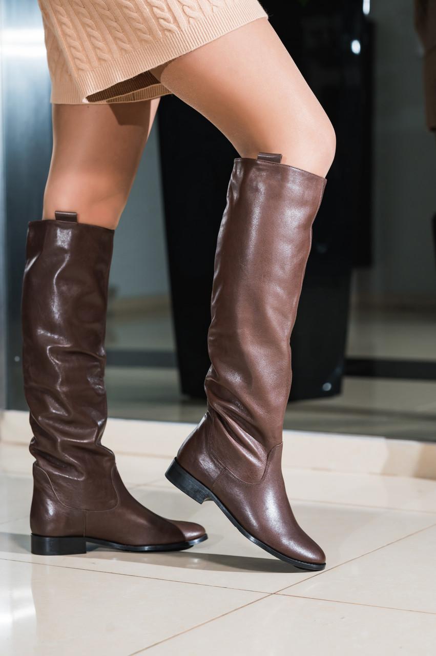 Сапоги трубы женские кожаные демисезонные коричневые