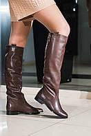 Сапоги трубы женские кожаные демисезонные коричневые, фото 1