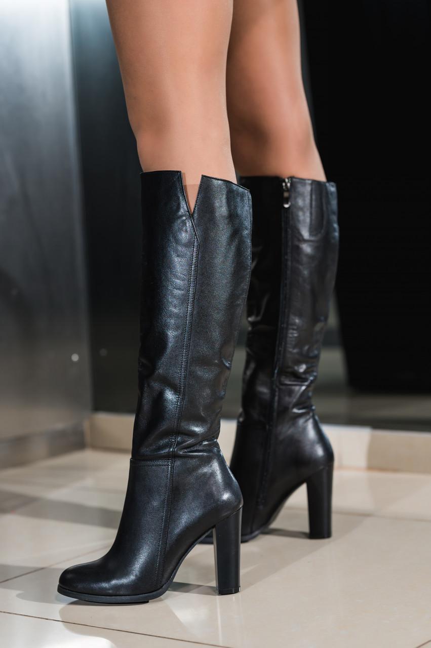 Сапоги женские на каблуке кожаные демисезонные черные